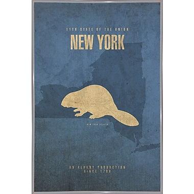 East Urban Home 'New York Poster' Graphic Art Print; Metal White Framed
