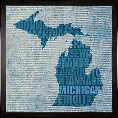East Urban Home 'Michigan State Words' Graphic Art Print; Cafe Espresso Framed