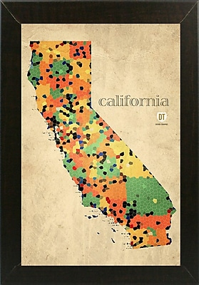 East Urban Home 'California County Map' Graphic Art Print; Brazilian Walnut Medium Framed