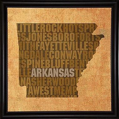 East Urban Home 'Arkansas State Words' Graphic Art Print; Bistro Expresso Framed