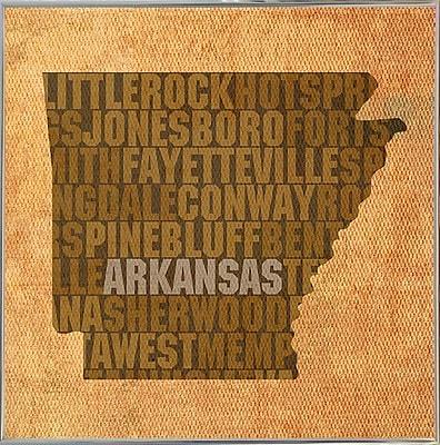East Urban Home 'Arkansas State Words' Graphic Art Print; Metal Silver Framed