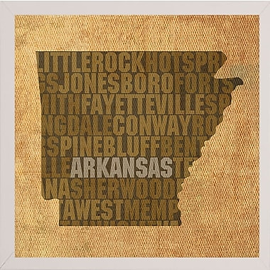 East Urban Home 'Arkansas State Words' Graphic Art Print; White Medium Framed