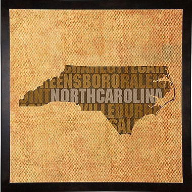 East Urban Home 'North Carolina State Words' Graphic Art Print; Cafe Espresso Framed
