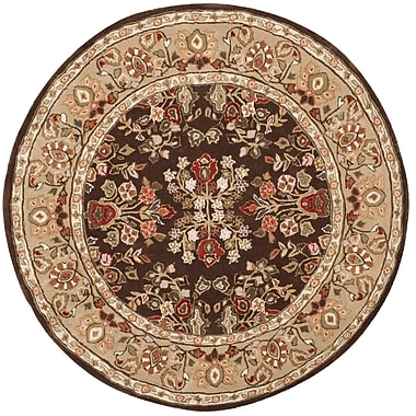 Fleur De Lis Living Stacy Hand-Hooked Brown/Green Area Rug; Round 8' x 8'