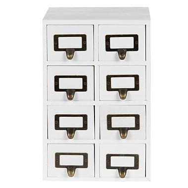 Gracie Oaks Kristian Apothecary Wood Vertical 8 Drawer Desktop Organizer; White