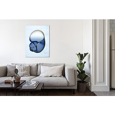 Highland Dunes 'Marble Indigo Snail 1' Graphic Art Print on Wrapped Canvas; 48'' H x 36'' W