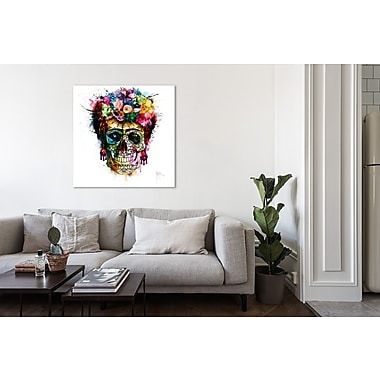 Latitude Run 'Frida Skull' Graphic Art Print on Wrapped Canvas; 24'' H x 24'' W
