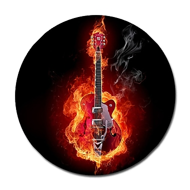 Serge De Troyer Collection 'Flaming Guitar Animated' Graphic Art Print on Glass; 24'' H x 24'' W