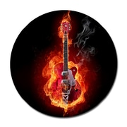 Serge De Troyer Collection 'Flaming Guitar Animated' Graphic Art Print on Glass; 36'' H x 36'' W
