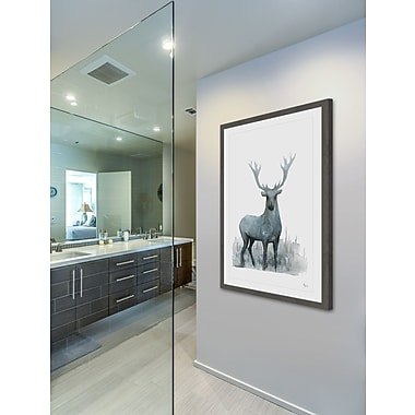 Loon Peak 'Deer at Dusk' Framed Print; 36'' H x 24'' W x 1.5'' D
