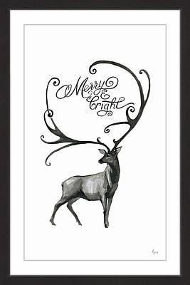 The Holiday Aisle 'Longhorn Deer' Framed Painting Print; 24'' x 16''
