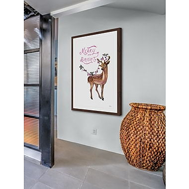 The Holiday Aisle 'Merry Deer' Framed Painting Print; 36'' H x 24'' W
