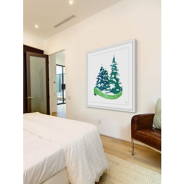 The Holiday Aisle 'Frosted Trees' Framed Painting Print; 32'' H x 32'' W