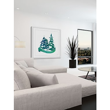 The Holiday Aisle 'Snowy Pine Trees' Framed Painting Print; 18'' W x 18'' H x 1.5'' D