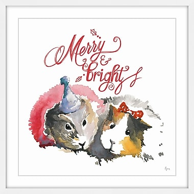 The Holiday Aisle 'Merry Guinea Pigs' Framed Painting Print; 18'' x 18''
