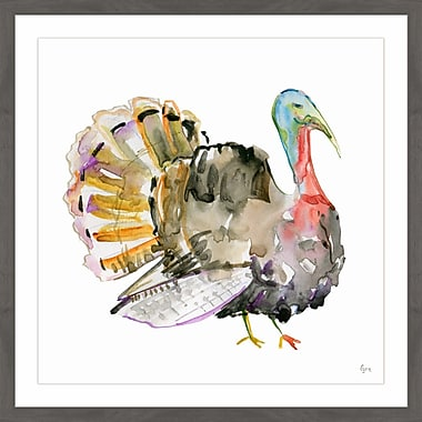 The Holiday Aisle 'Colorful Turkey' Framed Painting Print; 24'' x 24''
