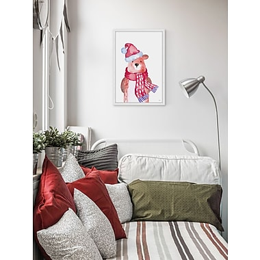 The Holiday Aisle 'Christmas Teddy Bear' Framed Painting Print; 20'' W x 30'' H x 1.5'' D