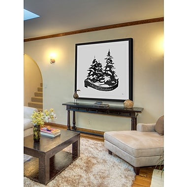The Holiday Aisle 'Snowy Pine Trees II' Framed Painting Print; 40'' H x 40'' W