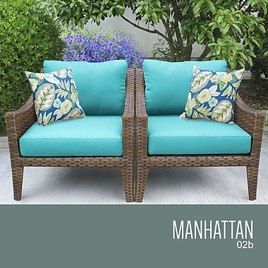 TK Classics Manhattan Outdoor Wicker Chair w/ Cushions; Aruba
