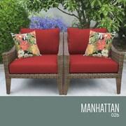 TK Classics Manhattan Outdoor Wicker Chair w/ Cushions; Terracotta