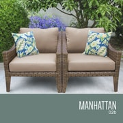 TK Classics Manhattan Outdoor Wicker Chair w/ Cushions; Wheat