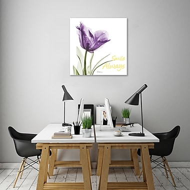 Winston Porter 'Smile Always Tulip' Graphic Art Print on Wrapped Canvas; 18'' H x 18'' W