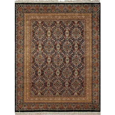 Astoria Grand Cleasby Hand Knotted Wool Black Area Rug