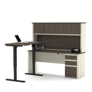 BESTAR Prestige + L-Desk with Hutch including Electric Height Adjustable Table, White Chocolate/Antigua (99886-52)