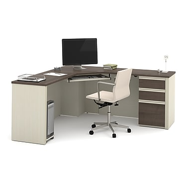 BESTAR Prestige + Corner Desk including one pedestal, White Chocolate/Antigua (99899-52)