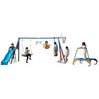 FitnessRealityKids The Ultimate 8 Station Sports Series Metal Swing Set