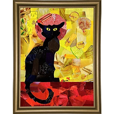 East Urban Home 'Le Chat Noir' Graphic Art Print; Bistro Gold Framed