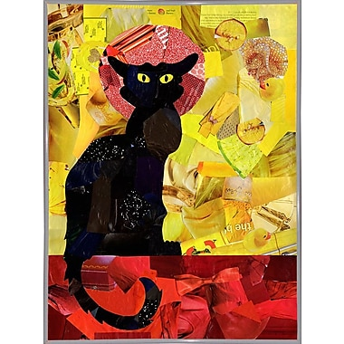 East Urban Home 'Le Chat Noir' Graphic Art Print; Canvas Maple Floater Framed