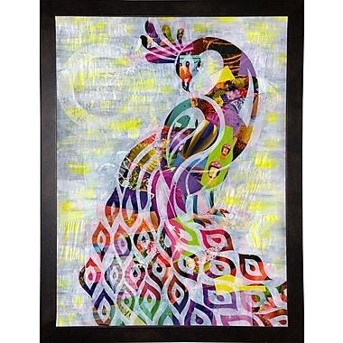 East Urban Home 'Peacock' Graphic Art Print; Cafe Espresso Framed
