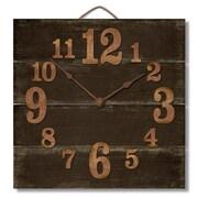 Gracie Oaks Cassandrea Square Wood Pallet Wall Clock; Antique Brown