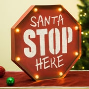 The Holiday Aisle Traditional Marquee Santa Stop Sign Wall D cor