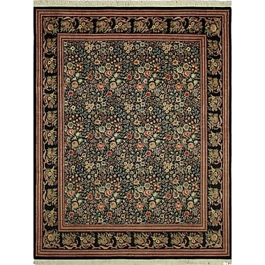 Astoria Grand Cleasby Hand Knotted Rectangle Wool Green/Red Area Rug