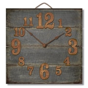 Gracie Oaks Cassandrea Square Wood Pallet Wall Clock; Weathered Gray