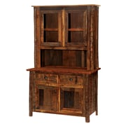Fireside Lodge Barnwood China Cabinet; Antique Oak