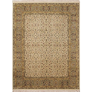 Astoria Grand Cleasby Oriental Hand Knotted Wool Ivory Area Rug