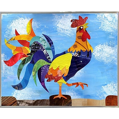 August Grove 'Colorful Rooster' Graphic Art Print; Metal Silver Framed