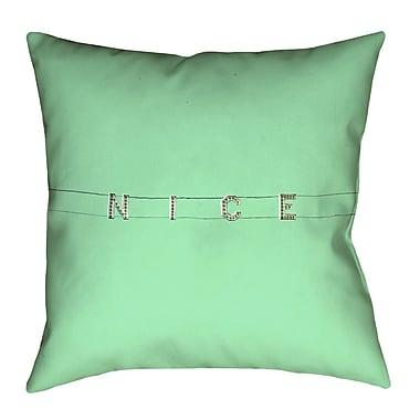 Latitude Run Hansard Nice Sign Throw Pillow; Green