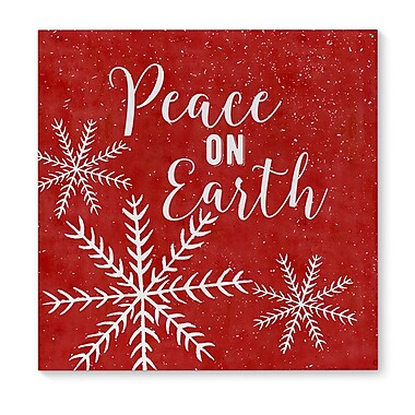 The Holiday Aisle 'Snowing Peace On Earth' Graphic Art Print on Canvas