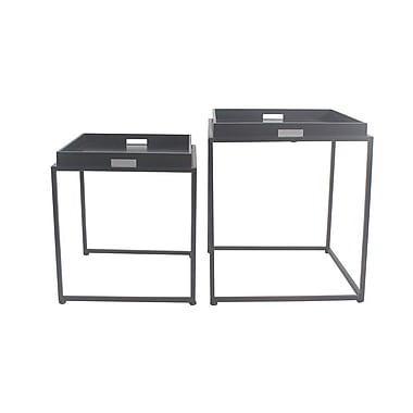 Latitude Run Vamyr 2 Piece Nesting Tables; Off White