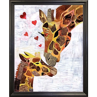 East Urban Home 'Sweet Giraffes' Graphic Art Print; Wrapped Canvas Floater Framed