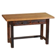 Fireside Lodge Reclaimed Barnwood 2 Drawers Writing Desk; Antique Oak Finish with Hickory Legs
