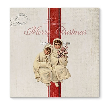 Red Barrel Studio 'Children at Christmas' Square Frame Graphic Art Print on Canvas