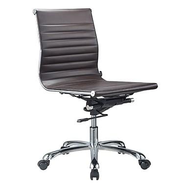Orren Ellis Yang Mid Back Armless Office Chair; Brown