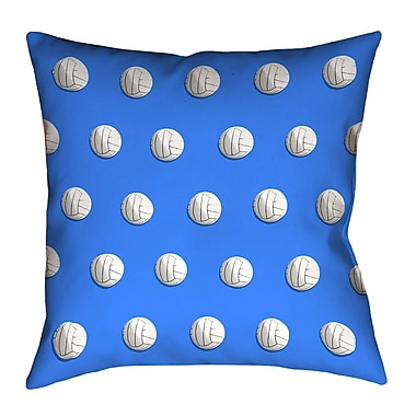 East Urban Home White Square Volleyball Throw Pillow; Blue