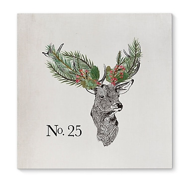 The Holiday Aisle 'Christmas Deer' Square Frame Graphic Art Print on Canvas