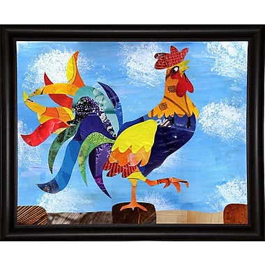 August Grove 'Colorful Rooster' Graphic Art Print; Bistro Expresso Framed